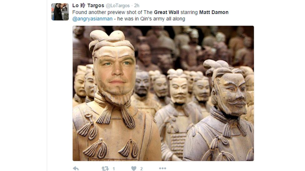 """Found another preview shot of The Great Wall starring Matt Damon- he was in Qin's army all along"""