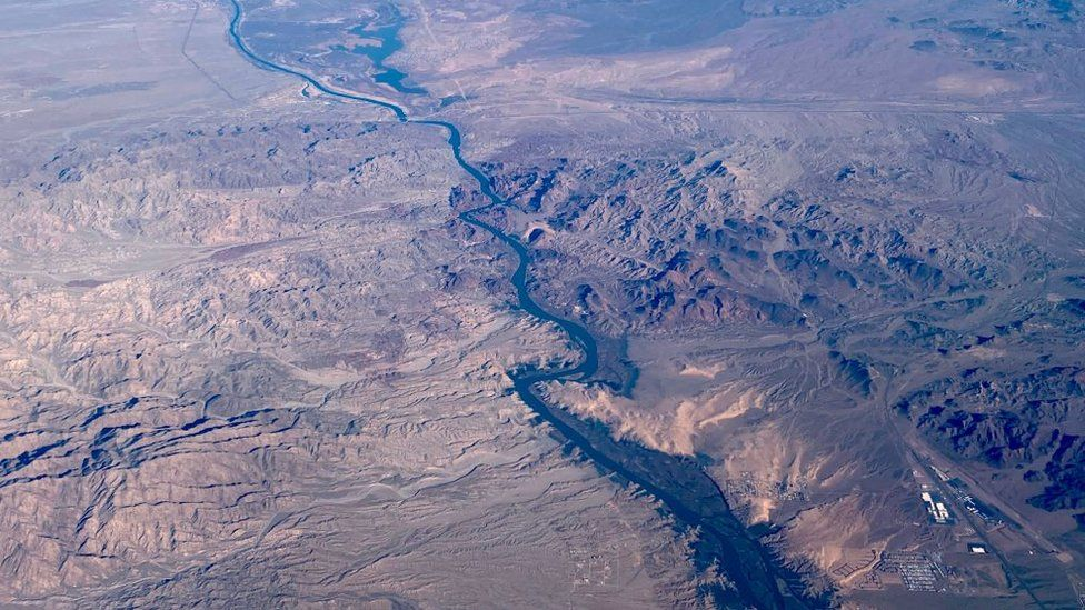 This aerial view shows the Colorado River, south of Las Vegas, on 6 February, 2020.