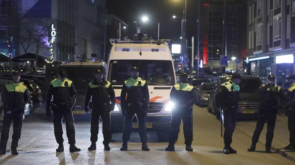 Police block the road outside the Turkish consulate in Rotterdam, the Netherlands, 11 March 2017