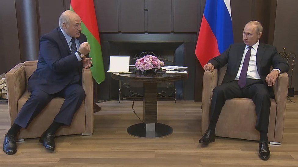 Belarus President Alexander Lukashenko (L) and Russian President Vladimir Putin (R) during their meeting in the Black sea resort of Sochi, Russia, 14 September 2020