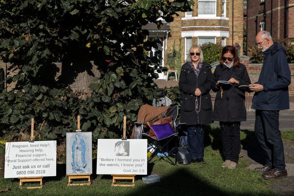 Anti-abortion protesters continue a vigil outside a Marie Stopes Abortion Clinic on 27 October 2017 in London