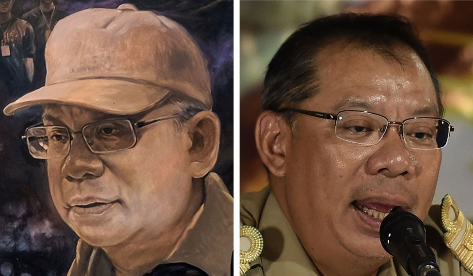 A mural image of Narongsak Osotthanakorn on the left side and a photo of Narongsak Osotthanakornon the right side