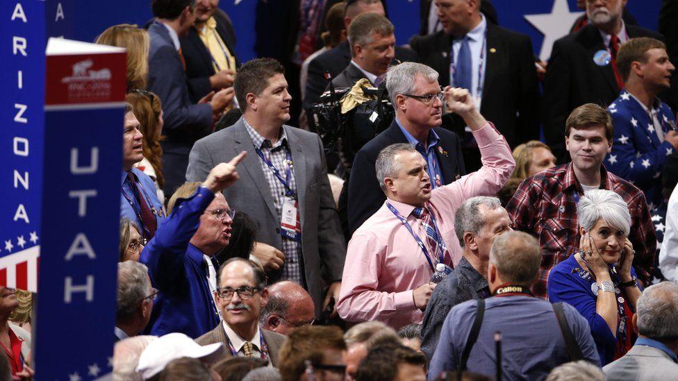 Delegates chanting