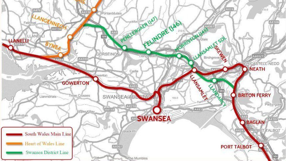 Map of railway lines around Swansea