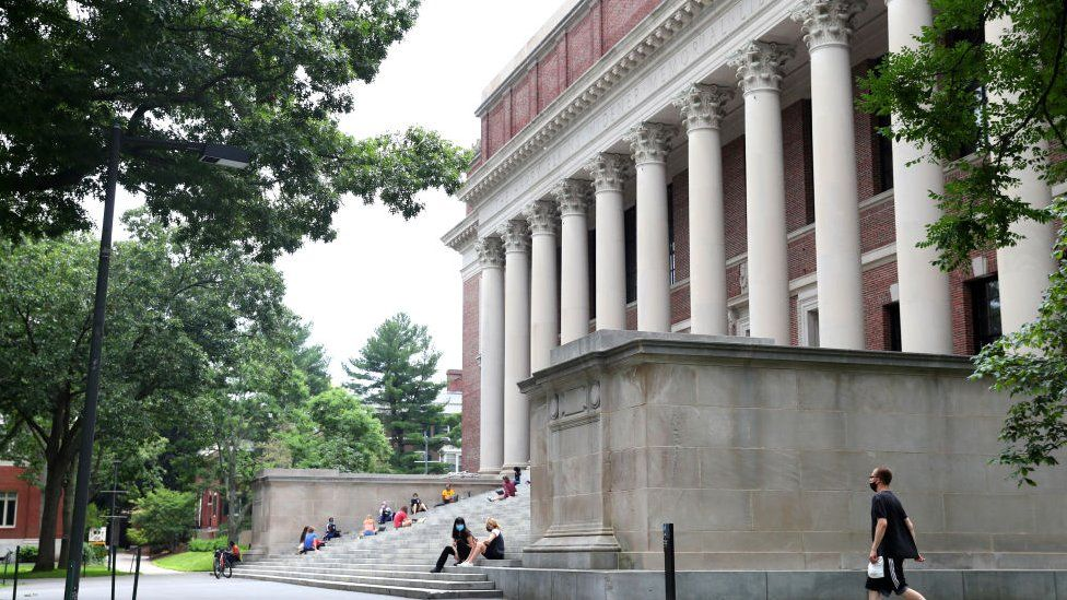 A view of Harvard Yard on the campus of Harvard University in July 2020 in Cambridge, Massachusetts.