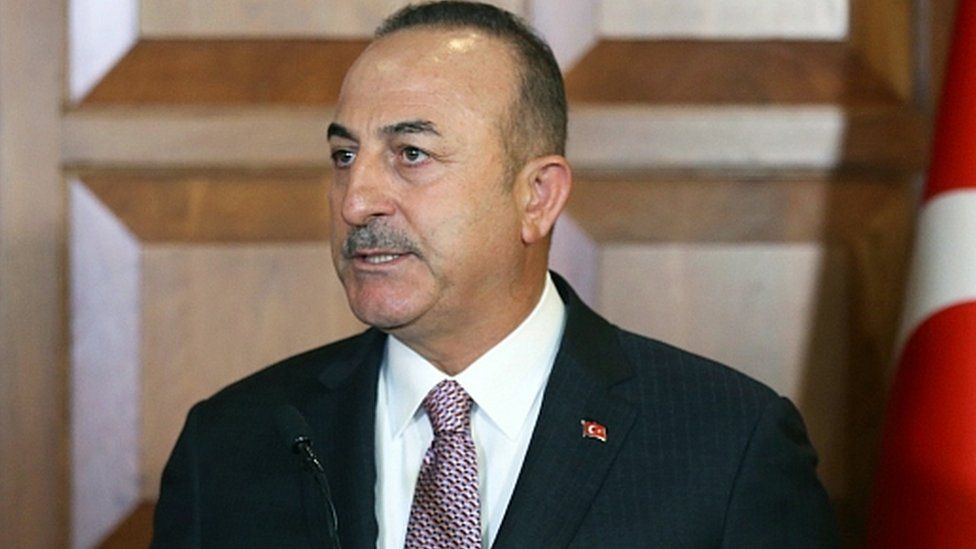 Turkish Foreign Minister Mevlut Cavusoglu at a press conference in Ankara, 28 November 2019