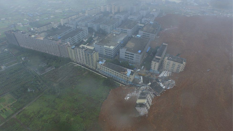 An aerial view shows the site of a landslide at an industrial park in Shenzhe