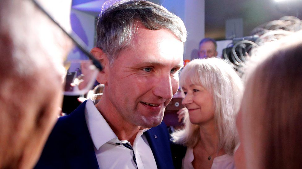Björn Höcke, Alternative for Germany (AfD) party leader and top candidate for the Thuringia attends a party election night after the Thuringia state election in Erfurt, Germany, October 27