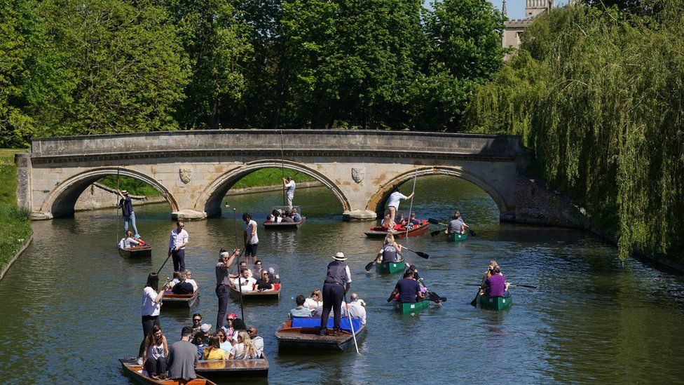 Punts and kayaks fill the River Cam in Cambridge on Sunday