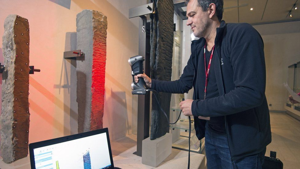 Scanning a stone in the National Museum Scotland