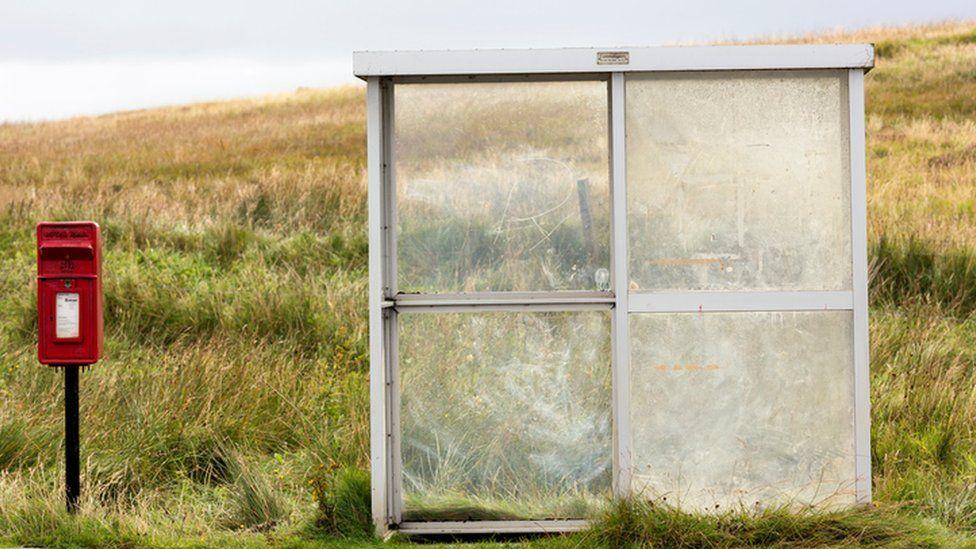 A rural remote bus stop