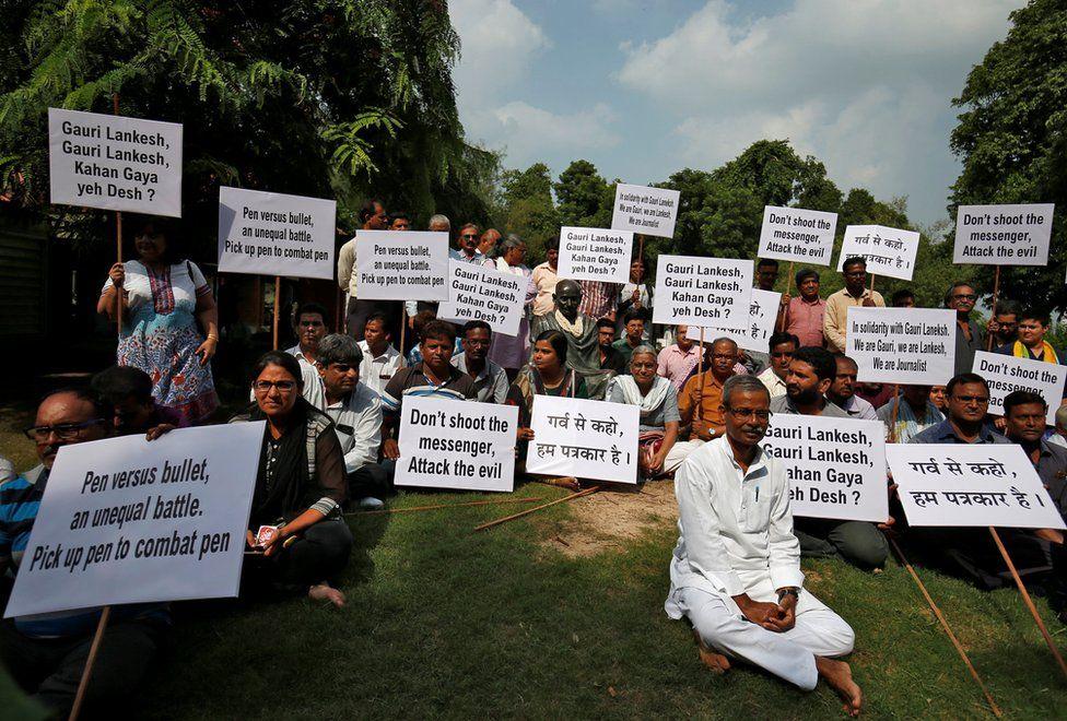 Protestors in Ahmedabad
