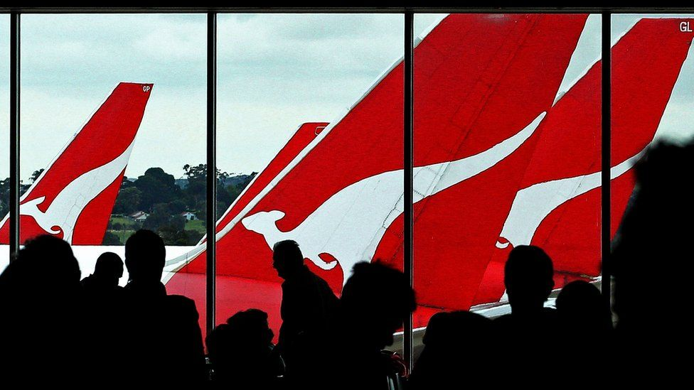 Boarding gate for Qantas flights