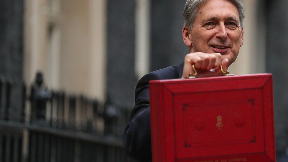 Philip Hammond poses for pictures before the Budget