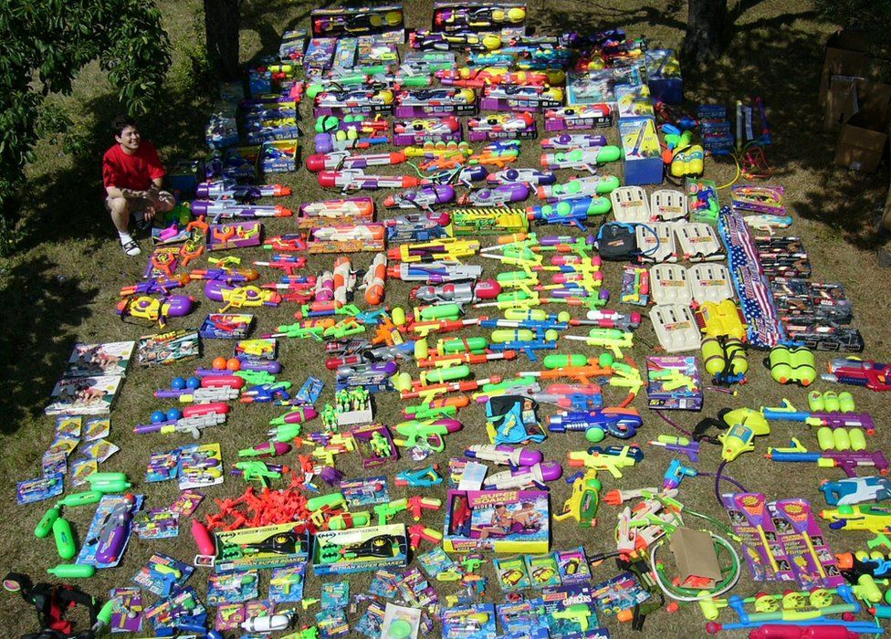 Lots of super soakers on the grass