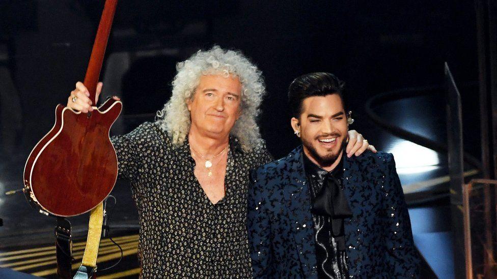 Brian May of Queen with Adam Lambert