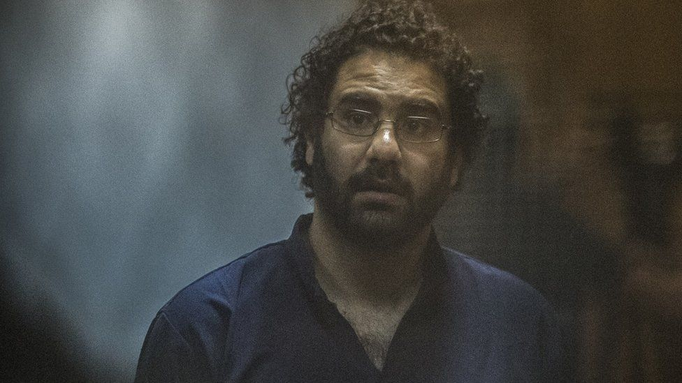 Egyptian activist Alaa Abdel Fattah in court on 23 May 2015