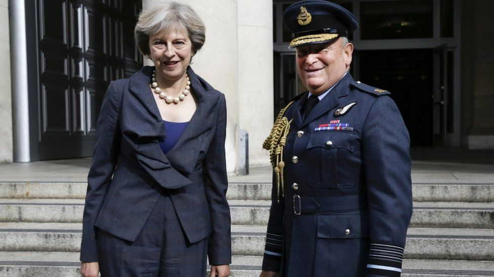 Prime Minister Theresa May with the Chief of the Defence Staff Air Chief Marshal Stuart Peach