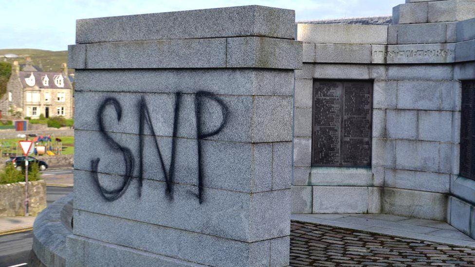 Police inquiry after 'SNP' sprayed on war memorial in Lerwick