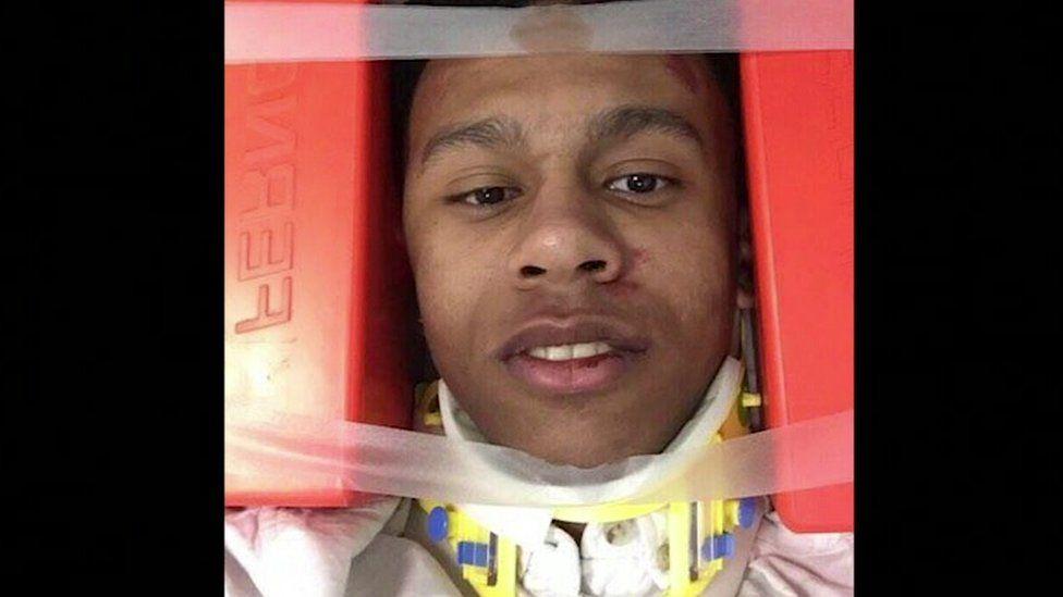 Jordan in neck brace