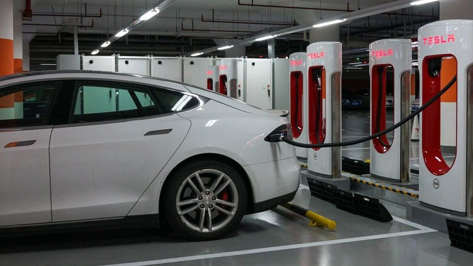 Tesla charging points at a Shanghai mall