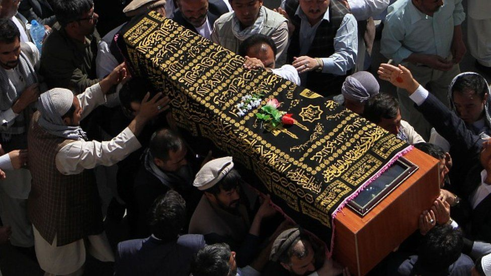 Afghans carry a coffin during a funeral ceremony in Kabul