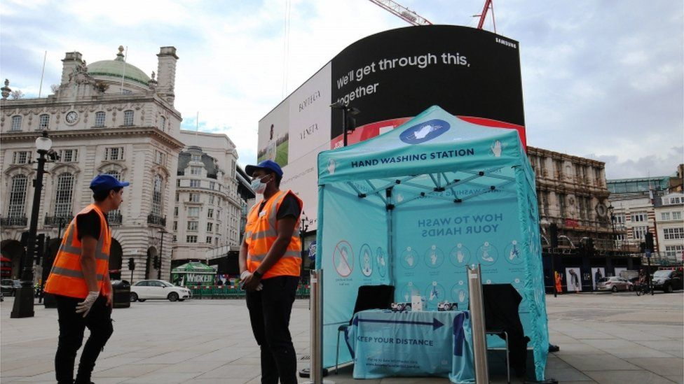 Piccadilly Circus hand washing station