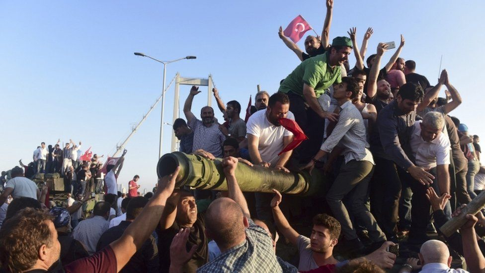 Supporters of the Turkish President celebrate after the attempted coup