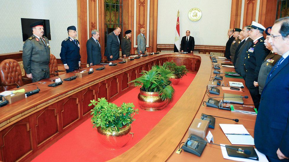 Egyptian President Abdul Fattah al-Sisi chairs a meeting of Egypt's National Defence Council on 9 April 2017