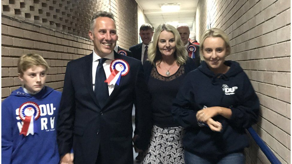 Ian Paisley and his wife Fiona arrive at the 2017 general election count in North Antrim