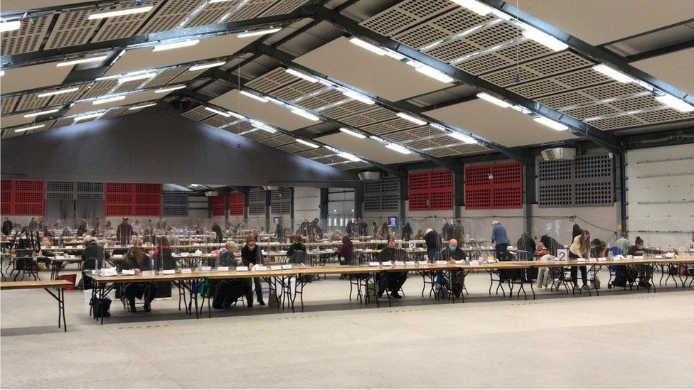 Votes being counted at the Norfolk Showground Centre