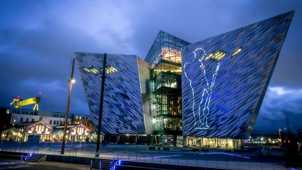 A World War One soldier projected on to Titanic Belfast.