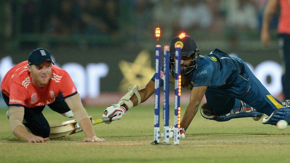Ben Stokes of England runs out Lahiru Thirimanne of Sri Lanka