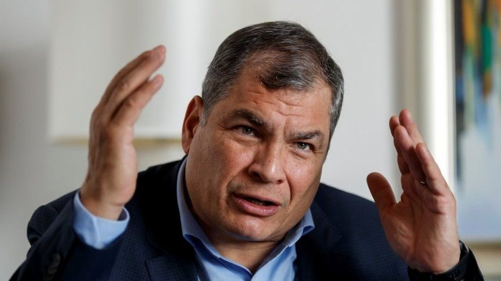 Former President Rafael Correa speaks during an interview in Mexico City, Mexico, 18 January 2021