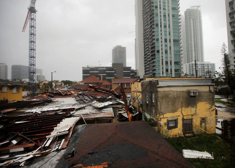 Destroyed roofs in a residential area of Miami, 10 September