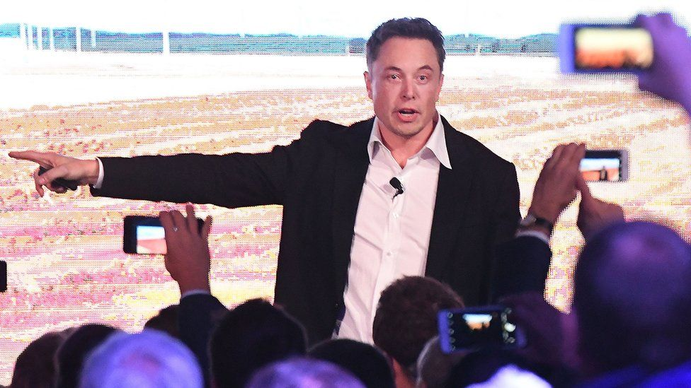 Elon Musk during his presentation at the Tesla Powerpack Launch Event at Hornsdale Wind Farm on September 29, 2017 Adelaide, Australia