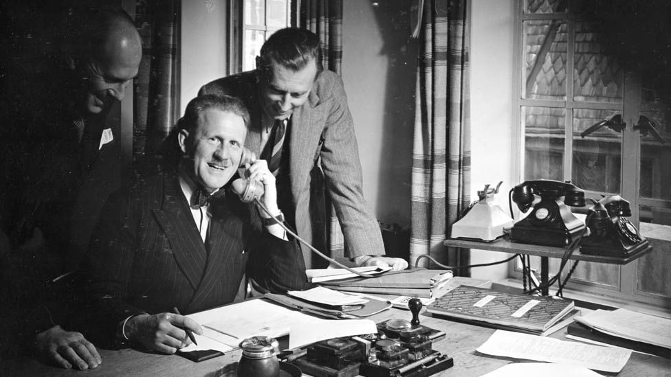 BBC Announcers Room in 1938