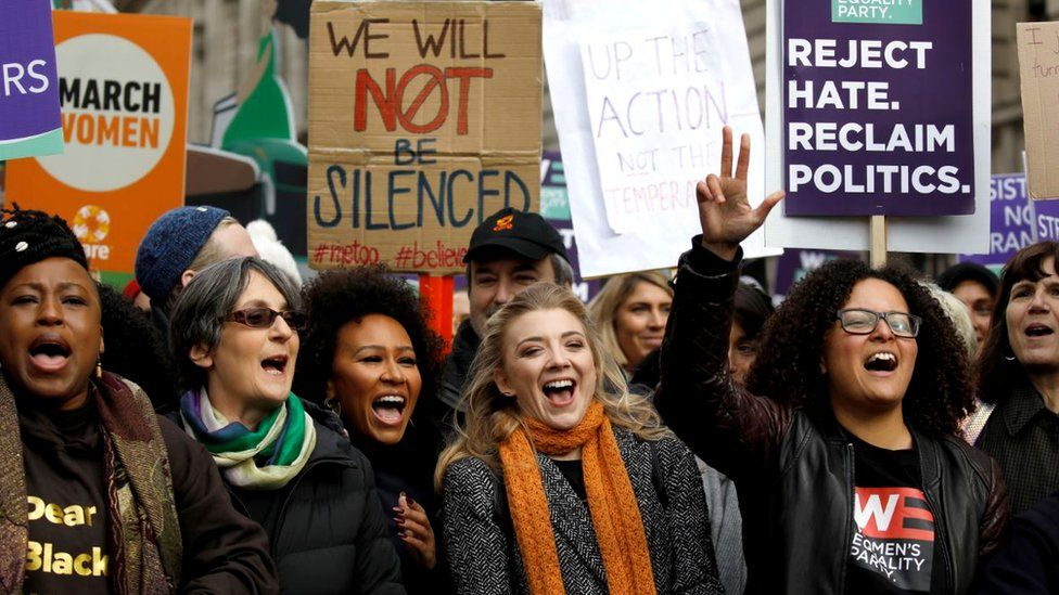 "Actress Natalie Dormer (2nd-R) and others attend the ""March4Women"" demonstration in London, 8 March 2020"