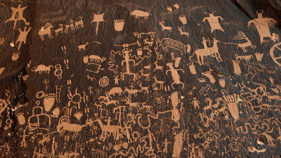 Hundreds of petroglyphs cover Newspaper Rock, in Bears Ears National Monument, Utah, U.S., October 29, 2017.