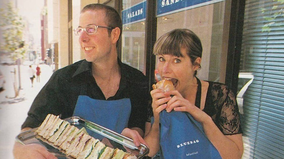 Abigail Forsyth and her brother Jamie, outside one of their old cafes in the late 1990s