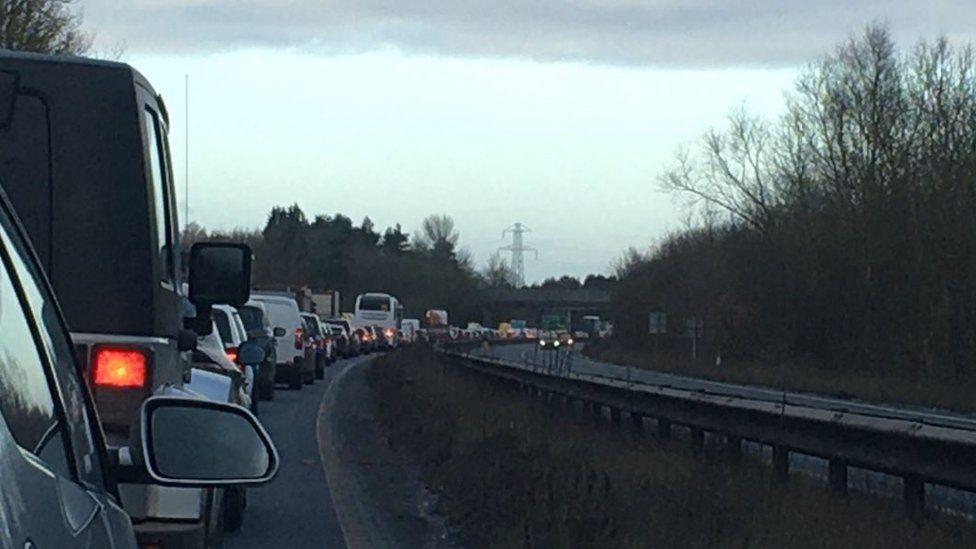A64 traffic at a standstill