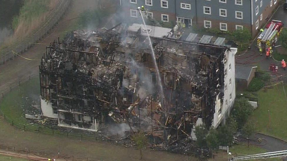 Aerial shot of block of flats after the fire