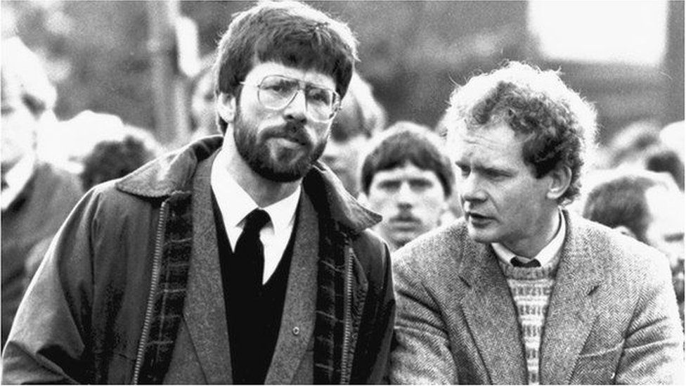 Sinn Féin president Gerry Adams with Martin McGuinness in 1987