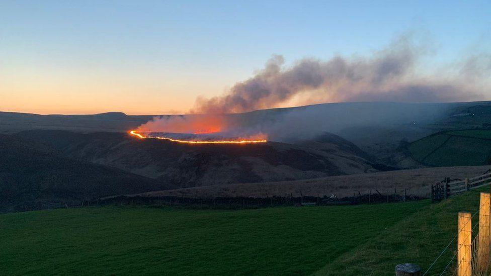 The fire on Marsden Moor broke out on Sunday