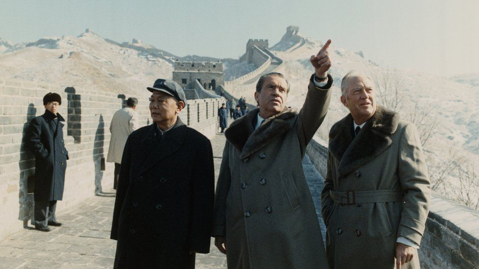 President Nixon and Secretary of State William Rogers with Chinese Deputy Premier Li Xiannian during a visit to the Great Wall of China.