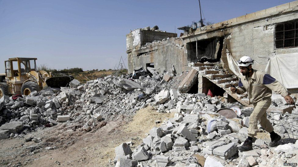 Rubble in Idlib province, Syria, after a reported Russian air strike, 3 October 2015
