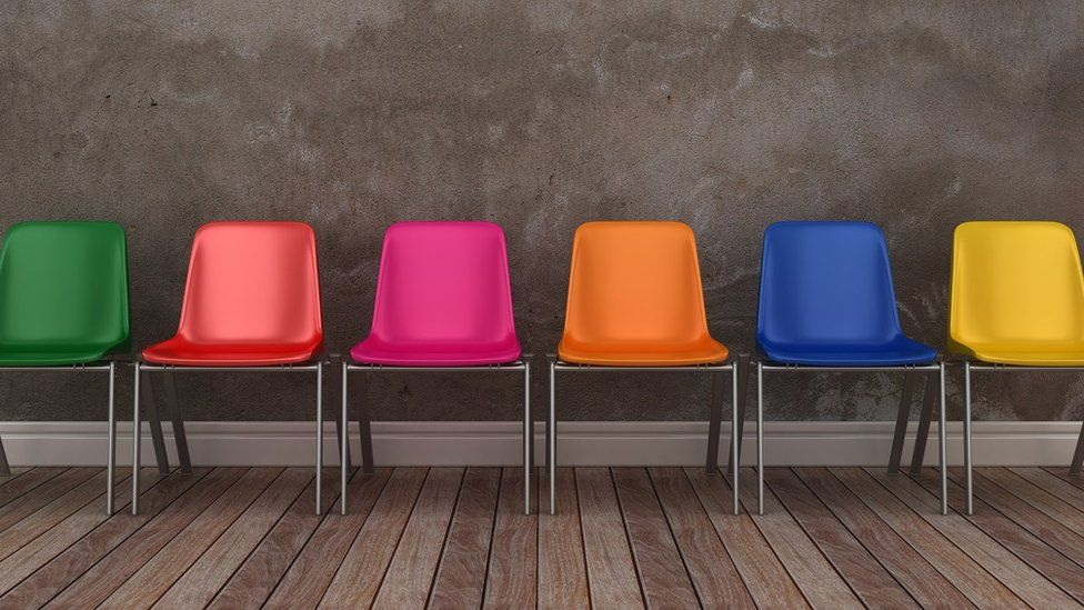Row of colourful chairs