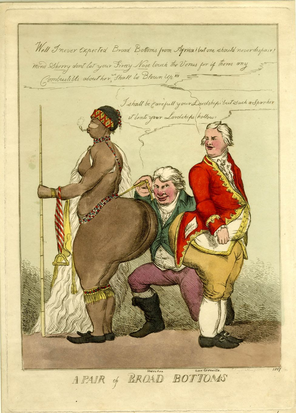 18th Century cartoon titled A Pair Of Broad Bottoms