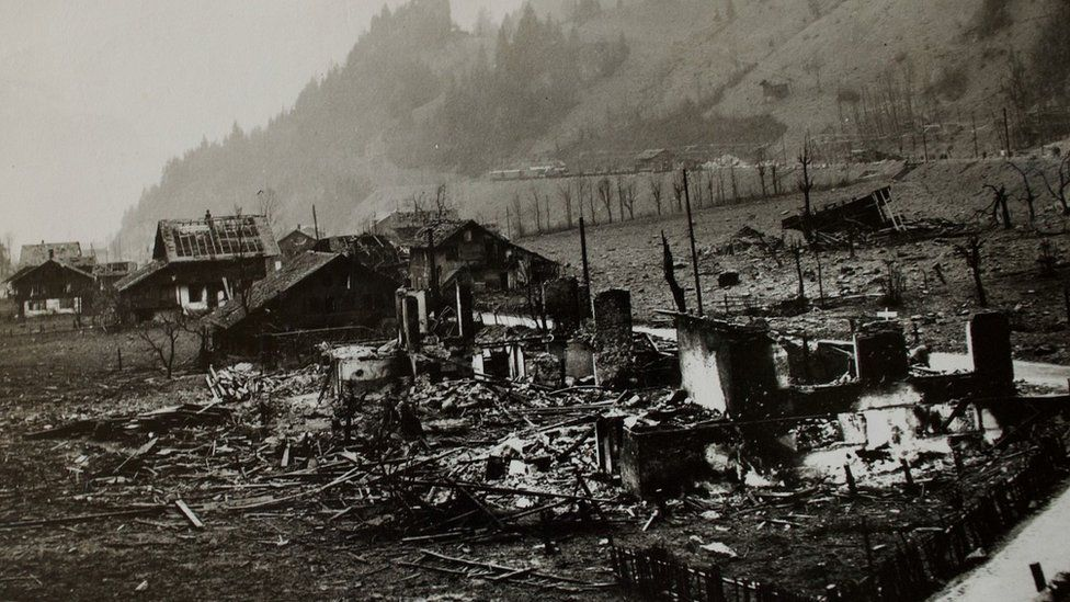 Archive pic showing Mitholz immediately after explosion
