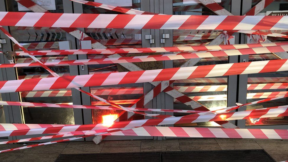 Red and white tape outside the university in Budapest